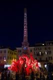 Fontana dei quattro fiumi e obelisco a Roma Fotografia Stock Libera da Diritti