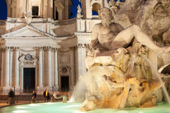 Fontana dei Quattro Fiumi (Fountain of the Four Rivers) Rome, It Stock Photography