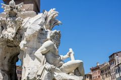 Fontana dei Quattro Fiumi at Piazza Navona, Rome Royalty Free Stock Images