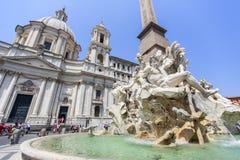 Fontana dei Quattro Fiumi, Piazza Navona in Rome Stock Photography