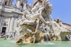 Fontana dei Quattro Fiumi, Piazza Navona in Rome Stock Images
