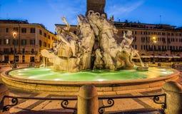 Fontana dei Quttro Fiumi, piazza Navona, Rome, Italien Royaltyfria Bilder