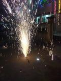 Fontana del fuoco d'artificio Fotografia Stock Libera da Diritti