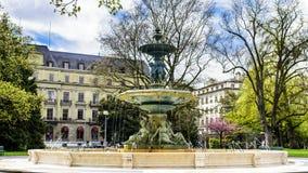 Fontana del giardino inglese a Ginevra, Svizzera Fotografia Stock