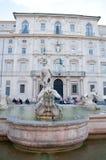 Fontana del Moro bepaalde van in Piazza Navona de plaats Royalty-vrije Stock Foto's