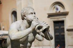 Fontana del Moro in Piazza Navona Mooie oude vensters in Rome (Italië) stock afbeeldingen