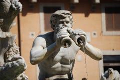 Fontana del Moro in Piazza Navona Mooie oude vensters in Rome (Italië) royalty-vrije stock afbeelding