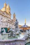 Fontana del Moro, Piazza Navona, Rome, Italië royalty-vrije stock foto