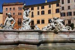 Fontana del Nettuno. The basin part of the Fontana del Nettuno was designed in 1574 by Giacomo Della Porta and was completed in 1878 by Antonio della Bitta, who stock photo