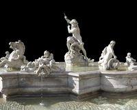 Fontana del Nettuno in black back Stock Photo