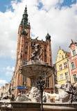 Fontana del Nettuno a Danzica, Polonia Fotografia Stock