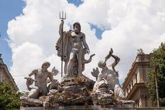 Fontana del Nettuno. Fountain of Neptune is a monumental fountain located in the Piazza del Popolo in Rome stock images