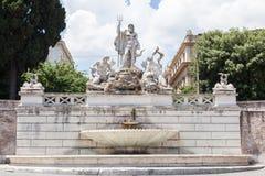 Fontana del Nettuno. Fountain of Neptune is a monumental fountain located in the Piazza del Popolo in Rome stock image