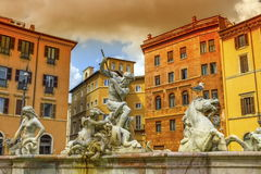Fontana del Nettuno, fountain of Neptune, Piazza Navona, Roma, Italy Royalty Free Stock Photography