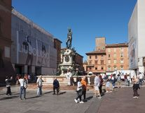 Fontana del Nettuno (Neptune Fountain) in Bologna. BOLOGNA, ITALY - CIRCA SEPTEMBER 2018: Fontana del Nettuno (meaning Neptun Fountain stock images