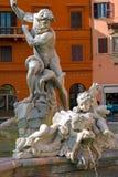 Fontana del Nettuno, Piazza Navona, Rome, Italy. Figures of the Fontana del Nettuno, Piazza Navona, Rome, Italy stock image