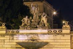 Fontana del Nettuno, Rome. The Fontana del Nettuno (Fountain of Neptune) is a monumental fountain located in the Piazza del Popolo in Rome. Evening royalty free stock photos