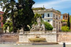 Fontana del Nettuno in Rome. View of Fontana del Nettuno in Rome, Italy royalty free stock photos