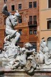 Fontana del Nettuno sculptures. The basin part of the Fontana del Nettuno was designed in 1574 by Giacomo Della Porta and was completed in 1878 by Antonio della stock image