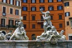 Fontana del Nettuno, springbrunn av Neptun, piazza Navona, Roma, Italien royaltyfri foto