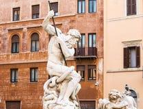 Fontana del Nettuno (springbrunnen av Neptun) roma italy Fotografering för Bildbyråer