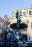 Fontana del Nettuno in vecchia città di Danzica, Polonia fotografie stock
