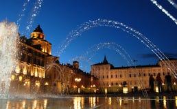 Fontana del palazzo reale al crepuscolo Fotografie Stock