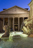 Fontana del Pantheon and temple in Rome Stock Images