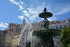 Fontana del quadrato di Rossio a Lisbona Immagine Stock
