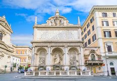 The Fountain of the Acqua Felice in Rome, Italy. The Fontana dell`Acqua Felice, also called the Fountain of Moses, is a monumental fountain located in the Royalty Free Stock Photo