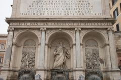 Fountain of Moses Fountain Acqua Felice in city of Rome, Italy. The Fontana dell`Acqua Felice, also called the Fountain of Moses, is a monumental fountain Stock Photo