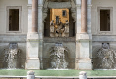 The Fontana dell'Acqua Paola. Also known as Il Fontanone ('The big fountain') is a monumental fountain located on the Janiculum Hill in Rome. Italy Royalty Free Stock Photos