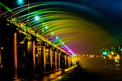 Fontana dell'arcobaleno del ponte di Banpo a Seoul fotografia stock