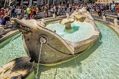 Fontana della Barcaccia. Fountain of the Ugly Boat, a Baroque style fountain at the foot of the Spanish Steps, completed between 1627 and 1629 by Pietro Bernini royalty free stock photography