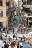 Fontana della Barcaccia and Via del Condotti seen from the Most Holy Trinity  in Rome Stock Photography