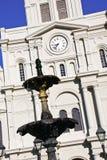 Fontana della cattedrale di New Orleans St. Louis Fotografie Stock Libere da Diritti