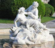 Fontana della nereide e di Tritone davanti al museo di storia naturale a Vienna Fotografia Stock Libera da Diritti