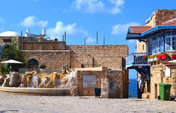 Fontana della piazza di Giaffa Fotografia Stock Libera da Diritti