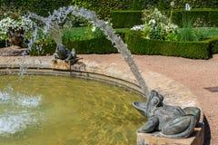 Fontana della rana in un giardino bianco, a sud della Francia immagine stock libera da diritti