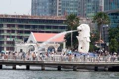 Fontana della statua di Merlion a Singapore Fotografia Stock