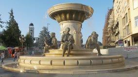 Fontana delle madri a Skopje stock footage