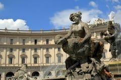 Fontana delle Naiadi细节在广场della Republica的 罗马 免版税库存图片