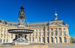 Fontana delle tre tolleranze sul posto de la Bourse in Bordeaux, Francia Fotografia Stock