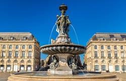 Fontana delle tre tolleranze sul posto de la Bourse in Bordeaux, Francia Fotografia Stock Libera da Diritti