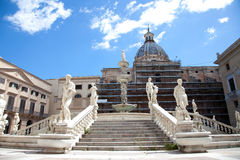 Fontana delle Vergogne in Piazza Pretoria in Paler Royalty Free Stock Photo