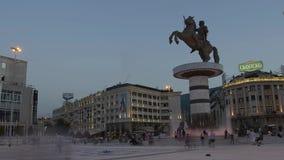 Fontana di Alessandro Magno a Skopje archivi video