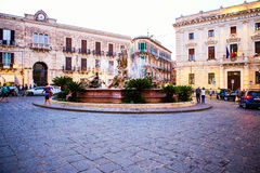 Fontana di Artemide, Artemide Fountain, Ortigia, Italy Stock Photography
