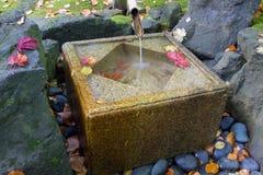 Fontana di bambù giapponese con il bacino di pietra Fotografia Stock