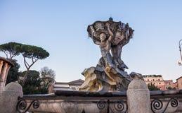 Fontana di Bocca della Verità in winter. Photograph of frozen fountain at the Bocca della Verità area , Rome, Italy Stock Image