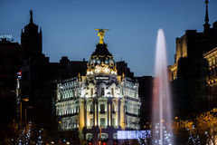 Fontana di Cibeles e di Alcala a Madrid al crepuscolo Immagine Stock Libera da Diritti